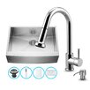 Vigo 30 inch Farmhouse Apron Single Bowl 16 Gauge Stainless Steel Kitchen Sink with Harrison Chrome Faucet, Grid, Strainer and Soap Dispenser