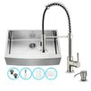 Vigo 33 inch Farmhouse Apron Single Bowl 16 Gauge Stainless Steel Kitchen Sink with Edison Stainless Steel Faucet, Grid, Strainer and Soap Dispenser