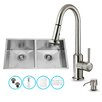 Vigo 32 inch Undermount 50/50 Double Bowl 16 Gauge Stainless Steel Kitchen Sink with Astor Stainless Steel Faucet, Two Grids, Two Strainers and Soap Dispenser