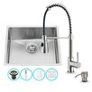 Vigo 23 inch Undermount Single Bowl 16 Gauge Stainless Steel Kitchen Sink with Brant Stainless Steel Faucet, Grid, Strainer and Soap Dispenser