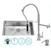 Vigo 32 inch Undermount Single Bowl 16 Gauge Stainless Steel Kitchen Sink with Zurich Chrome Faucet, Grid, Strainer and Soap Dispenser