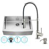 Vigo 33 inch Farmhouse Apron Single Bowl 16 Gauge Stainless Steel Kitchen Sink with Brant Stainless Steel Faucet, Grid, Strainer and Soap Dispenser