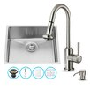 Vigo 23 inch Undermount Single Bowl 16 Gauge Stainless Steel Kitchen Sink with Astor Stainless Steel Faucet, Grid, Strainer and Soap Dispenser