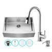 Vigo 33 inch Farmhouse Apron Single Bowl 16 Gauge Stainless Steel Kitchen Sink with Weston Chrome Faucet, Grid, Strainer and Soap Dispenser