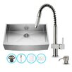 Vigo 36 inch Farmhouse Apron Single Bowl 16 Gauge Stainless Steel Kitchen Sink with Lincroft Stainless Steel Faucet, Grid, Strainer and Soap Dispenser