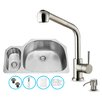 Vigo 32 inch Undermount 80/20 Double Bowl 18 Gauge Stainless Steel Kitchen Sink with Avondale Stainless Steel Faucet, Grid, Two Strainers and Soap Dispenser