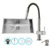 Vigo 30 inch Undermount Single Bowl 16 Gauge Stainless Steel Kitchen Sink with Lincroft Stainless Steel Faucet, Grid, Strainer and Soap Dispenser