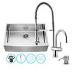 Vigo 33 inch Farmhouse Apron Single Bowl 16 Gauge Stainless Steel Kitchen Sink with Dresden Chrome Faucet, Grid, Strainer and Soap Dispenser