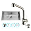Vigo 30 inch Undermount Single Bowl 16 Gauge Stainless Steel Kitchen Sink with Avondale Stainless Steel Faucet, Grid, Strainer and Soap Dispenser