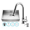 Vigo 33 inch Farmhouse Apron Single Bowl 16 Gauge Stainless Steel Kitchen Sink with Harrison Chrome Faucet, Grid, Strainer and Soap Dispenser