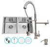 Vigo 29 inch Undermount 50/50 Double Bowl 16 Gauge Stainless Steel Kitchen Sink with Zurich Stainless Steel Faucet, Two Grids, Two Strainers and Soap Dispenser