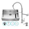 Vigo 33 inch Farmhouse Apron Single Bowl 16 Gauge Stainless Steel Kitchen Sink with Zurich Chrome Faucet, Grid, Strainer and Soap Dispenser