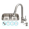 Vigo 32 inch Undermount 50/50 Double Bowl 18 Gauge Stainless Steel Kitchen Sink with Harrison Stainless Steel Faucet, Two Grids, Two Strainers and Soap Dispenser