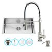 Vigo 30 inch Undermount Single Bowl 16 Gauge Stainless Steel Kitchen Sink with Brant Stainless Steel Faucet, Grid, Strainer and Soap Dispenser