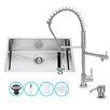 Vigo 30 inch Undermount Single Bowl 16 Gauge Stainless Steel Kitchen Sink with Zurich Chrome Faucet, Grid, Strainer and Soap Dispenser