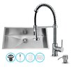 Vigo 32 inch Undermount Single Bowl 16 Gauge Stainless Steel Kitchen Sink with Edison Chrome Faucet, Grid, Strainer and Soap Dispenser