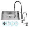 Vigo 32 inch Undermount Single Bowl 16 Gauge Stainless Steel Kitchen Sink with Dresden Chrome Faucet, Grid, Strainer and Soap Dispenser
