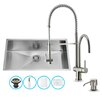 Vigo 32 inch Undermount Single Bowl 16 Gauge Stainless Steel Kitchen Sink with Dresden Stainless Steel Faucet, Grid, Strainer and Soap Dispenser