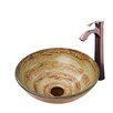 Vigo Mocha Swirl Glass Vessel Bathroom Sink and Otis Vessel Faucet with