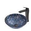 Vigo Rio Glass Vessel Bathroom Sink and Blackstonian Vessel Faucet with  Matte Black