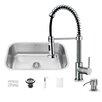 """Vigo 30"""" x 18.75"""" Undermount Kitchen Sink with Faucet, Strainer & Dispenser"""