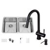 Vigo 29 inch Undermount 50/50 Double Bowl 16 Gauge Stainless Steel Kitchen Sink with Gramercy Matte Black Faucet, Two Grids, Two Strainers and Soap Dispenser