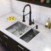 "Vigo 29"" x 20"" Undermount 16 Gauge Double Bowl Kitchen Sink and Edison Pull-Down Spray Kitchen Faucet (Set of 4)"