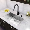 "Vigo 30"" x 19"" Undermount 16 Gauge Single Bowl Kitchen Sink and Pull-Down Kitchen Faucet (Set of 4)"