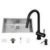 Vigo 30 inch Undermount Single Bowl 16 Gauge Stainless Steel Kitchen Sink with Gramercy Matte Black Faucet, Grid, Strainer and Soap Dispenser
