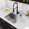 "Vigo 23"" x 20"" Undermount 16 Gauge Single Bowl Kitchen Sink and Edison Pull-Down Spray Kitchen Faucet (Set of 4)"