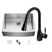 Vigo 30 inch Farmhouse Apron Single Bowl 16 Gauge Stainless Steel Kitchen Sink with Aylesbury Antique Rubbed Bronze Faucet, Grid and Strainer