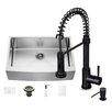Vigo 33 inch Farmhouse Apron Single Bowl 16 Gauge Stainless Steel Kitchen Sink with Edison Matte Black Faucet, Grid, Strainer and Soap Dispenser