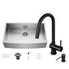 Vigo 36 inch Farmhouse Apron Single Bowl 16 Gauge Stainless Steel Kitchen Sink with Gramercy Matte Black Faucet, Grid, Strainer and Soap Dispenser