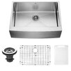 Vigo 30 inch Farmhouse Apron Single Bowl 16 Gauge Stainless Steel Kitchen Sink with Grid and Strainer