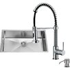 Vigo 32 inch Undermount Single Bowl 16 Gauge Stainless Steel Kitchen Sink with Edison Chrome Faucet, Grid, Strainer, Colander and Soap Dispenser