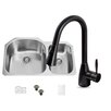 Vigo 31 inch Undermount 70/30 Double Bowl 18 Gauge Stainless Steel Kitchen Sink with Aylesbury Antique Rubbed Bronze Faucet, Two Grids and Two Strainers