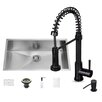 Vigo 32 inch Undermount Single Bowl 16 Gauge Stainless Steel Kitchen Sink with Edison Matte Black Faucet, Grid, Strainer and Soap Dispenser