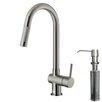Vigo Gramercy Single Handle Pull-Down Kitchen Faucet with Soap Dispenser