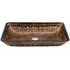 Vigo Rectangular Golden Greek Glass Vessel Bathroom Sink