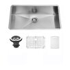 Vigo 30 inch Undermount Single Bowl 16 Gauge Stainless Steel Kitchen Sink with Grid and Strainer