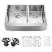 Vigo 33 inch Farmhouse Apron 60/40 Double Bowl 16 Gauge Stainless Steel Kitchen Sink