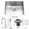 Vigo 23 inch Undermount Single Bowl 16 Gauge Stainless Steel Kitchen Sink with Edison Stainless Steel Faucet, Grid, Strainer and Soap Dispenser