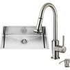 Vigo 30 inch Undermount Single Bowl 16 Gauge Stainless Steel Kitchen Sink with Astor Stainless Steel Faucet, Grid, Strainer and Soap Dispenser