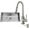 Vigo 32 inch Undermount Single Bowl 16 Gauge Stainless Steel Kitchen Sink with Astor Stainless Steel Faucet, Grid, Strainer, Colander and Soap Dispenser