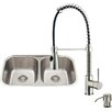 Vigo 32 inch Undermount 50/50 Double Bowl 18 Gauge Stainless Steel Kitchen Sink with Brant Stainless Steel Faucet, Two Grids, Two Strainers and Soap Dispenser