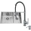 Vigo 29 inch Undermount 70/30 Double Bowl 16 Gauge Stainless Steel Kitchen Sink with Edison Chrome Faucet, Two Grids, Two Strainers and Soap Dispenser