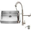 Vigo 33 inch Farmhouse Apron Single Bowl 16 Gauge Stainless Steel Kitchen Sink with Zurich Stainless Steel Faucet, Grid, Strainer and Soap Dispenser