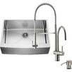 Vigo 30 inch Farmhouse Apron Single Bowl 16 Gauge Stainless Steel Kitchen Sink with Dresden Stainless Steel Faucet, Grid, Strainer and Soap Dispenser