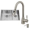 Vigo 29 inch Undermount 70/30 Double 16 Gauge Stainless Steel Kitchen Sink with Aylesbury Stainless Steel Faucet, Two Grids, Two Strainers and Soap Dispenser