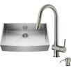 Vigo 36 inch Farmhouse Apron Single Bowl 16 Gauge Stainless Steel Kitchen Sink with Gramercy Stainless Steel Faucet, Grid, Strainer and Soap Dispenser